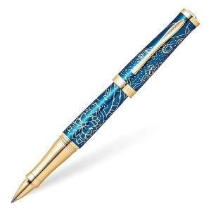 boligrafo cross sauvage 2020 edicion especial, lacado en color azul traslucido y chapado en oro amarillo de 23 k
