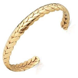 brazalete tipo cuff de hombre y mujer, chapado en oro de 18 k, trenzado