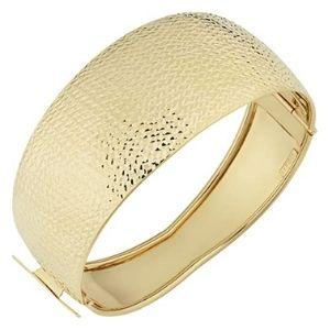 brazalete tipo bangle para mujer, de oro macizo de 14 k, en acabado polaco