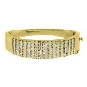 brazalete tipo bangle para hombre y mujer, de oro macizo de 14 k, con diamantes