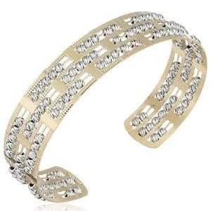brazalete tipo cuff para hombre y mujer, de oro blanco y amarillo de 10 k