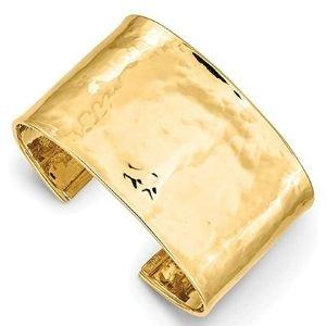 brazalete tipo cuff martillado para hombre, de oro amarillo macizo de 14 k