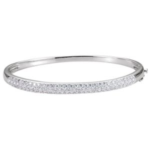 brazalete tipo bangle para hombre, de oro blanco de 14 k, con diamantes