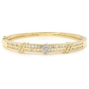 brazalete tipo bangle para hombre y mujer, de oro amarillo macizo de 14 k, con diamantes