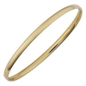 brazalete tipo bangle para hombre y mujer, de oro amarillo de 14 k llano