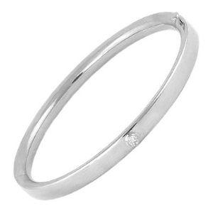 brazalete tipo bangle para ni帽a, de oro blanco de 14 k, con diamante