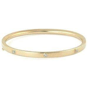 brazalete tipo bangle para ni帽a, de oro amarillo de 14 k, con 3 diamantes