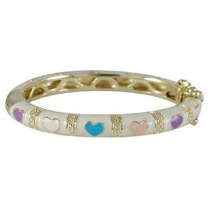 brazalete para niñas, acabado en oro blanco, con corazones de colores