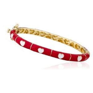brazalete tipo bangle para ni帽as, chapado en oro amarillo de 14 k, con corazones
