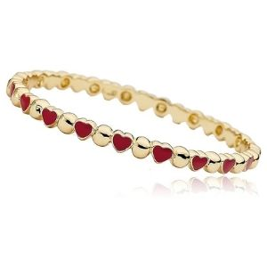 brazalete tipo bangle para ni帽as, chapado en oro amarillo de 14 k, con corazones rojos