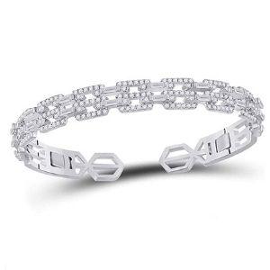 brazalete tipo bangle para mujer, de oro blanco de 14 k, con diamantes