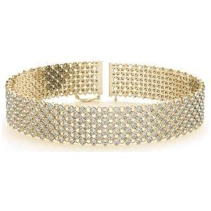 brazalete de boda para mujer, de oro amarillo de 18 k, con diamantes
