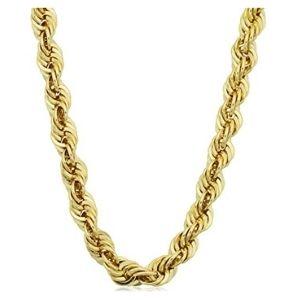 cadena tipo cuerda para hombres, de oro amarillo de 14 k