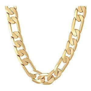cadena figaro para hombre, chapada en oro amarillo de 24 k