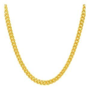 cadena de eslabones cubanos para hombre y mujer, chapada en oro amarillo de 24 k