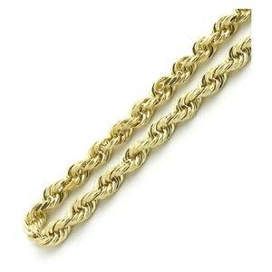 cadena tipo cuerda para hombre y mujer, de oro amarillo de 18 k