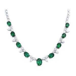 collar para mujer, de oro blanco de 18 k, con diamantes y esmeraldas