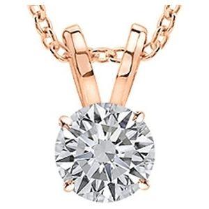collar para mujer, de oro rosa de 14 k, con colgante de diamante