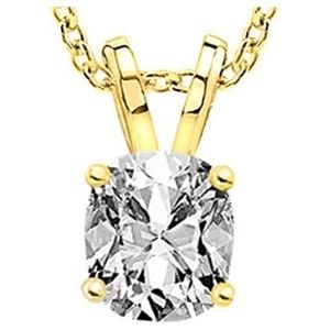 collar para mujer, de oro amarillo de 18 k, con colgante de diamante