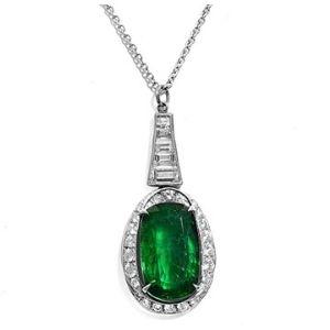collar para mujer, de oro blanco de 18 k, con colgante de esmeralda