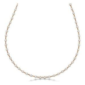 collar de eternidad para mujer, de oro rosa de 14 k, con diamantes