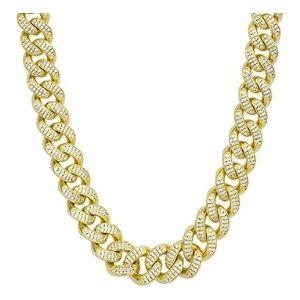 cadena de eslabones cubanos de miami para hombre, de oro amarillo de 14 k con circonitas cubicas