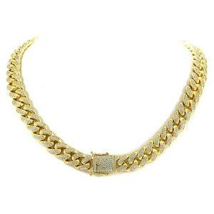 cadena de eslabones cubanos de miami para hombre y mujer, chapado en oro amarillo de 14 k con diamantes