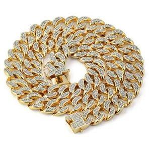cadena de eslabones cubanos de miami para hombre y mujer, chapado en oro amarillo de 18 k con diamantes