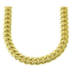cadena de eslabones cubanos de miami para hombre y mujer, chapado en oro amarillo de 18 k