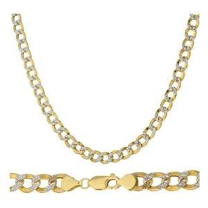 cadena cubana para hombre, de oro macizo de 14 k, con diamantes