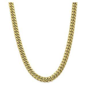 cadena de eslabones cubanos de miami para mujer, de oro amarillo de 10 k