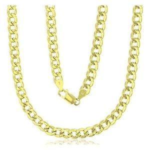 cadena cubana hueca para hombre y mujer, de oro amarillo solido de 14 k