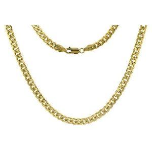 cadena de eslabones cubanos para hombre, de oro amarillo macizo de 14 k