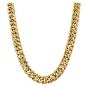 cadena cubana para mujer, de oro amarillo de 14 k