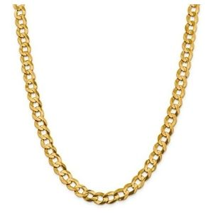 cadena cubana plana para hombre y mujer, de oro amarillo solido de 14 k