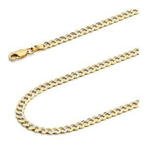 cadena cubana pulida para hombre y mujer, de oro amarillo de 14 k