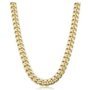 cadena cubana para hombre, gold filled amarillo de 14 k