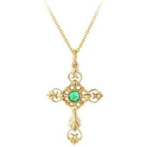 collar para niños, de oro amarillo de 14 k con colgante de cruz y esmeralda
