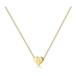 collar para niñas, chapado en oro amarillo de 14 k con corazon y letra inicial
