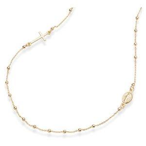 cadena tipo rosario para niños, chapada en oro amarillo de 18 k
