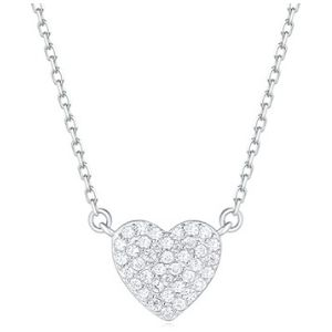 cadena para niñas, chapada en oro blanco de 18 k con colgante de corazon y circonitas