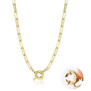 cadena de eslabon largo para niñas, chapada en oro amarillo de 14 k