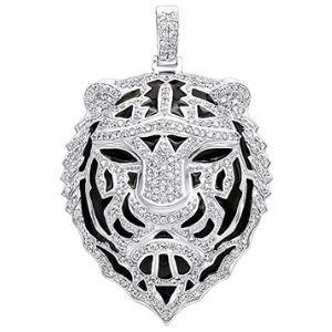 colgante de tigre para hombre, de oro blanco macizo de 14 k con diamantes