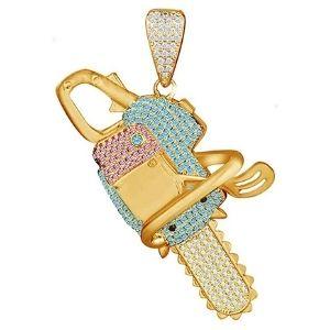 colgante de motosierra para hombre, de oro amarillo macizo de 14 k con diamantes y piedras de nacimiento