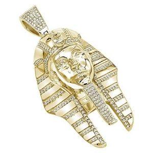 colgante de faraon para hombre, de oro amarillo macizo de 10 k con diamantes