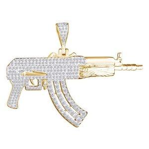 colgante de pistola para hombre, de oro amarillo macizo de 14 k con diamantes
