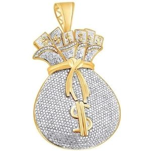 colgante hip hop para hombre, de oro amarillo de 14 k con diamantes