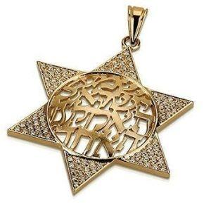colgante de estrella judia para hombre, de oro amarillo solido de 14 k