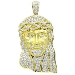 colgante de jesus para hombre, de oro amarillo macizo de 18 k con diamantes