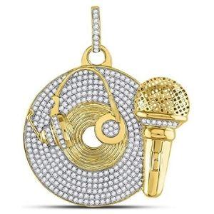 colgante de grabador de musica para hombre, de oro amarillo de 10 k con diamantes